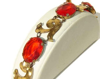 Vintage Coro Craft Bracelet 40s Art Deco Sterling Vermeil & Red Glass Stones