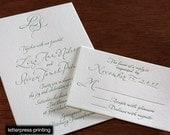 Liza Letterpress or Digital Wedding Invitations - Set of 100