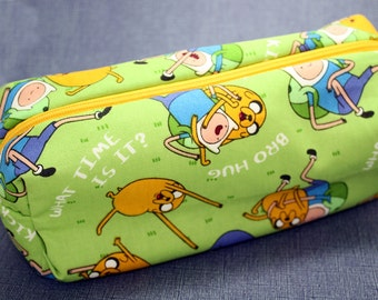 Boxy Makeup Bag - Adventure Time Jake and Finn Zipper - Pencil Pouch