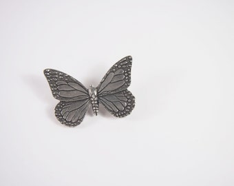 Butterfly Pewter Danforth Smithsonian Brooch Vintage 70s 80s Jewelry