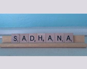 Sadhana Kundalini Yoga Scrabble Tiles Upcycled Sign