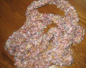 Sale Crochet Skinny Scarf In Pale Pink Chenille