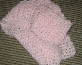 CLEARANCE SALE Baby Pink Crochet Scarf