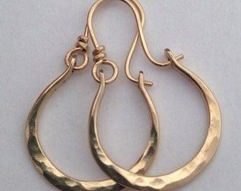 Artisan Petite Gabriela 14kt Gold Filled Hammered Hoops
