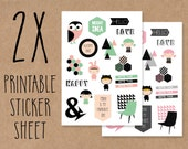 Set of printable stickers for your planner, journal or smashbook 02