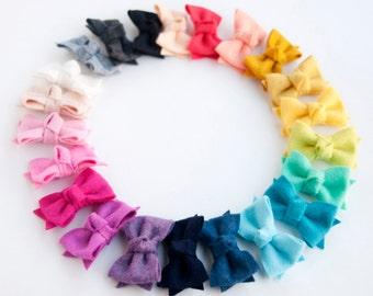 PICK YOUR COLORS - baby/girls felt hair bow headband on glitter or velvet elastic