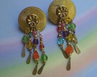 Vintage 80s Katrina Beaded Artisan Earrings