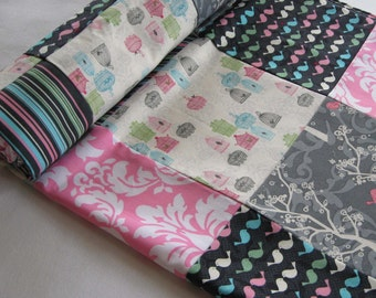 Birdcage Patchwork Baby Quilted Blanket - Birds, Trees, Gray, Rose Quartz, Pink, Serenity Blue, Woodland