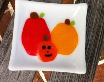 Pumpkin Patch Halloween Decoration - Little Fused Glass Dish
