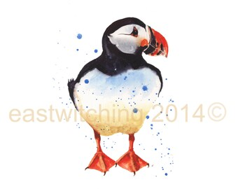 Watercolor PUFFIN print, 8x10 print, nautical art, bird lover gift, ready to frame, watercolour birds