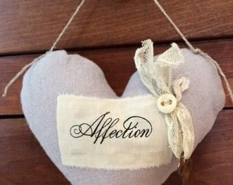 Valentine Heart  in Soft Grey Gray Love token with Motto and Key Gift door hanger sachet