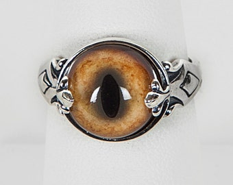 LOVED TO DEATH Taxidermy Glass Bobcat Eye Ring Sterling Double Prong