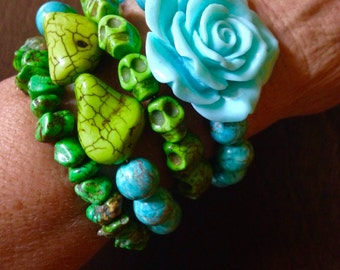 Day of the Dead Green Jade and Turquoise Howlite Turquoise Beaded Bracelet