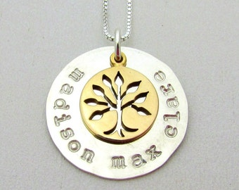 Silver Family Necklace   Gold Bronze Family Tree Charm   Mixed Metal Mothers Jewelry   Custom Name Charm   Eriadesigns