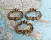 SALE! 3 vintage French Provincial brass metal pull handles