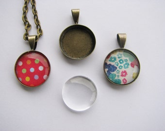 DIY Kit Necklaces Pendants Making 20 Glass Domes 20 Bezels Antique Brass 16mm Round Cabochons