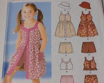 Simplicity 5540 Girls summer outfit pattern, shorts, top, uncut, Size 3-8