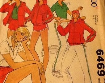 Simplicity 6469 Shorts Hooded Zippered Jacket Pants Top Size 7, 32 Bust, Uncut. Exercise clothes
