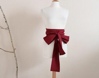eco chic burgundy cotton obi ready to ship