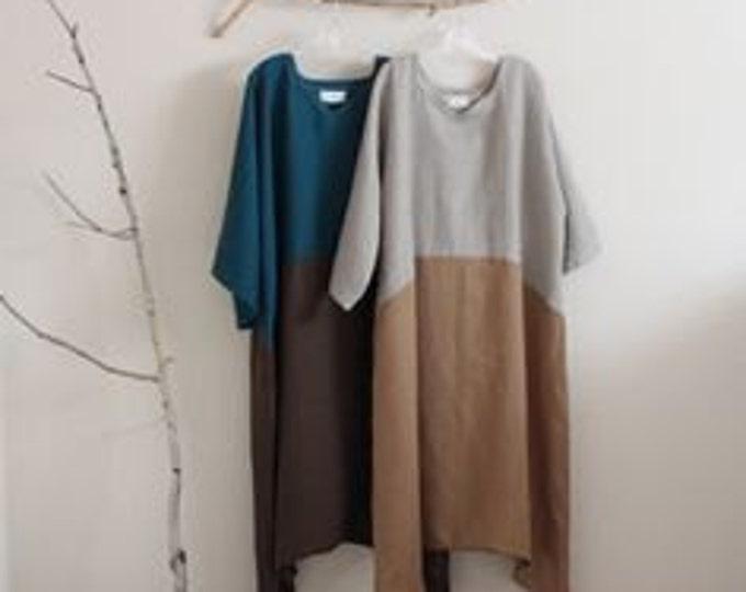 custom two tones linen swallow dress / custom linen dress for all sizes/ plus size fit /