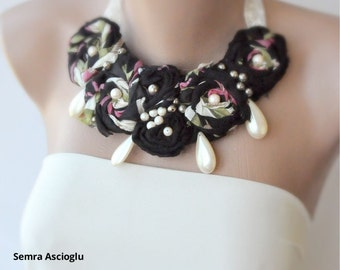 Handmade Fabric Bib Necklace with Vintage beads