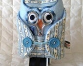 Sewing Kit Owl~Blue and Cream, Vintage Ticking