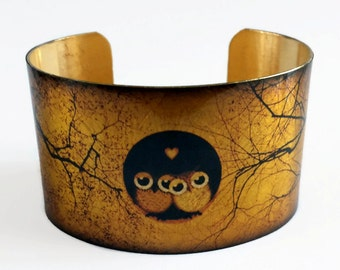 Night Owls cuff bracelet brass aluminum jewelry Gifts for her