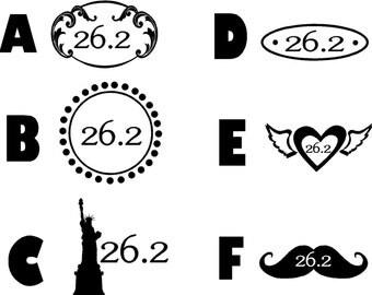 """26.2 decal marathon running gifts, runner, run, achievement  3"""" Wide Decals"""
