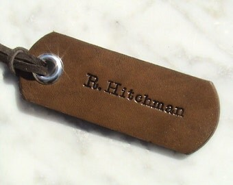 Personalized Leather ID Luggage Tag With Suede Lacing