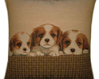 Spaniel Puppies Woven Tapestry Cushion Cover Sham