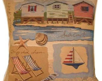 Beach Theme South Coast Beach Huts Tapestry Cushion Cover Sham