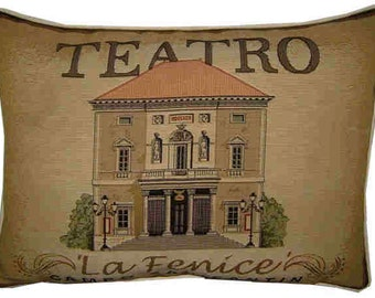 Teatro La Fenice Campo San Fantin Oblong Tapestry Cushion Pillow Cover