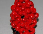 Vintage 1930s Molded Celluloid Ring Red And Black Celluloid