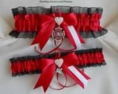 Firefighter Wedding Garter Set Rhinestone Heart Charms Crystal Maltese Cross Charm Red Black Garters