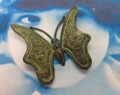 Large  Verdigris Patina Brass Butterfly Bent or Straight Stamping 231VER x1