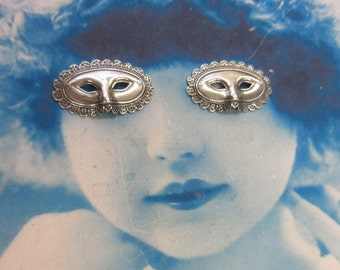 Sterling Silver Ox Plated Masquerade Mask Stampings 922SOX x2