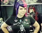 T Shirt  SKELETON GIRL Women's Spooky to the Bone Pocket Full of Posiez Screen Print