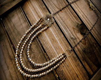 Dripping In Vintage, Western Cowgirl Southwestern Wedding Pearl & Crystal Flower Necklace