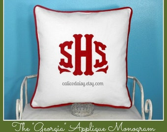 The Georgia Applique Monogram Pillow Cover - 18 x 18 square
