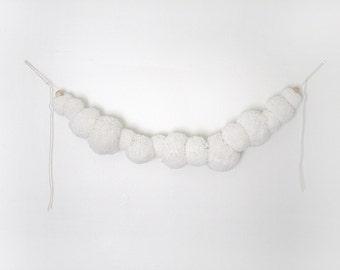 Pom Garland - Nursery Decor, White, Custom