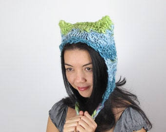 Kitty Hat Cat Hat Sea Blue and Green Wool Striped Hand Knit