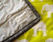 Throw Quilt with Elephants! Modern and Sweet.
