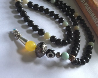 Trip Around the Galaxy - Agate Tasbih in 10 sets of Sevens - stretch cord / wrap or jap
