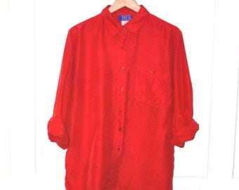 red SILK blouse vintage 80s MINIMALIST relaxed fit OVERSIZED baggy unisex long sleeve button up os
