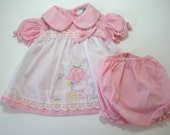 Vintage Infant, Baby Girl's Dress and Diaper Cover Size 3-6 Months Pink Vintage Dress