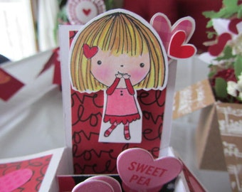 Valentine's GIRL Card - Handmade  Card - Surprise-In-A-Box Card - Pop-Up Card