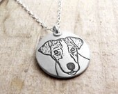 Jack Russell necklace, silver Jack Russell Terrier, remembrance jewelry, memorial necklace, Jack Russell jewelry