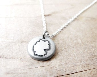 Tiny Germany necklace silver map jewelry Germany jewelry Deutschland necklace German map necklace