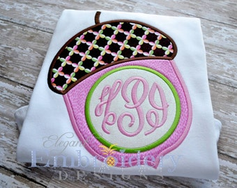 Monogram Acorn Applique T Shirt -  Fall Applique Tshirt - Applique TShirt by Elegant Embroidery Designs