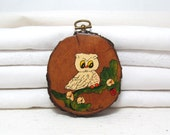 Vintage Owl Wall Hanging . Wall Decor . Woodland Kitsch